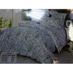 LENJERIE DE PAT 1 PERSOANA CU 2 FETE DE PERNA alba cu flori de musetel  - 1P3